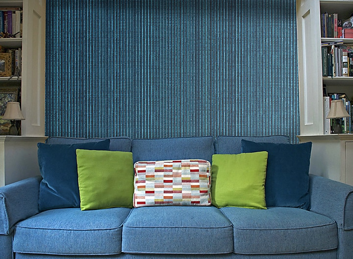 Casart Coverings Electric Blue Grasscloth temporary wallpaper on casartblog
