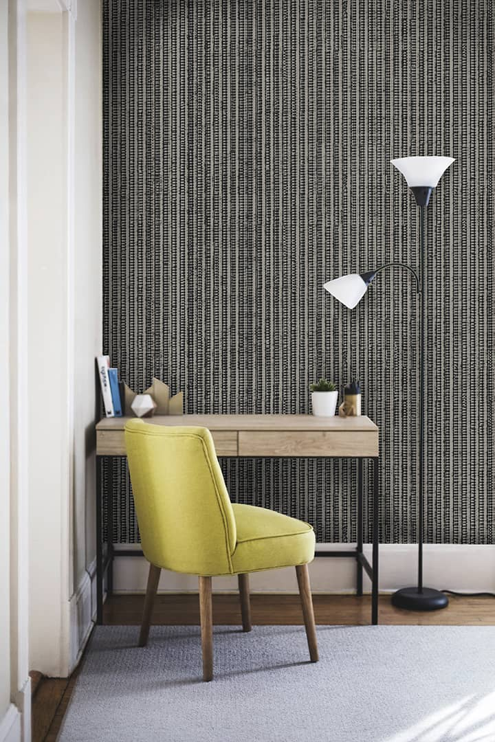 Casart Coverings Warm-Gray Grasscloth design temporary wallpaper
