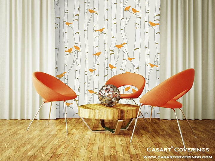 Casart Orange Birds-Birch-Circular-Chairs-Table-Curtains_RmView_casartblog