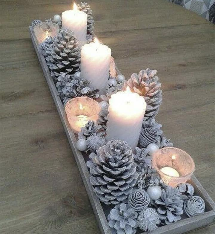 winter white candles and pinecones for holidays_casartblog