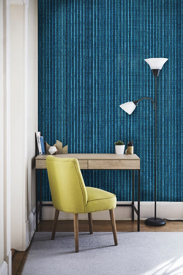 Casart Coverings Electric Blue removable Grasscloth wallcovering room on casartblog