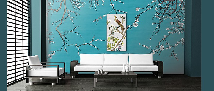 Casart Coverings Chinoiserie Gallery Wrap in VanGogh Blue Asia Blossom Room on casartblog