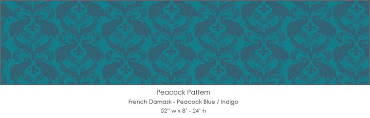 Casart Coverings Peacock Damask_Indigo temporary wallpaper