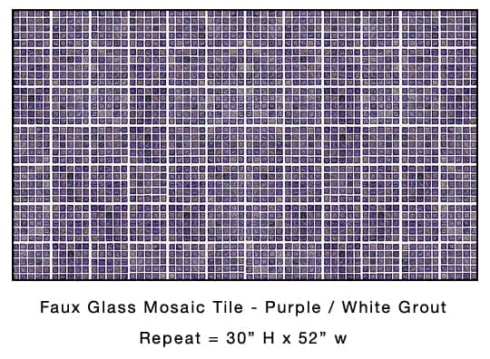 Casart Coverings_Faux Glass Mosaic Purple - White Tile removable wallpaper