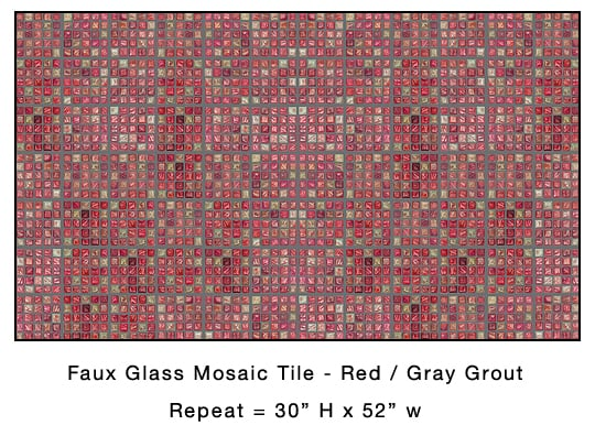 Casart Coverings Red Faux Glass Mosaic Tile removable wallpaper
