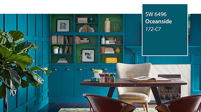 Sherwin Williams Oceanside deep teal color of year 2018_casartblog