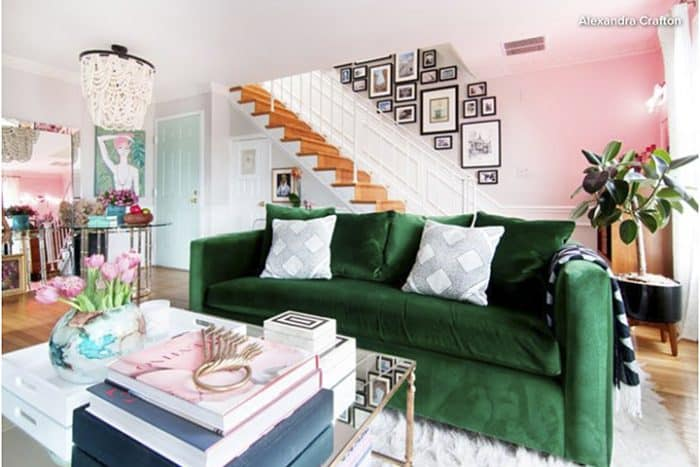 Bold color sofa via Houzz_casartblog