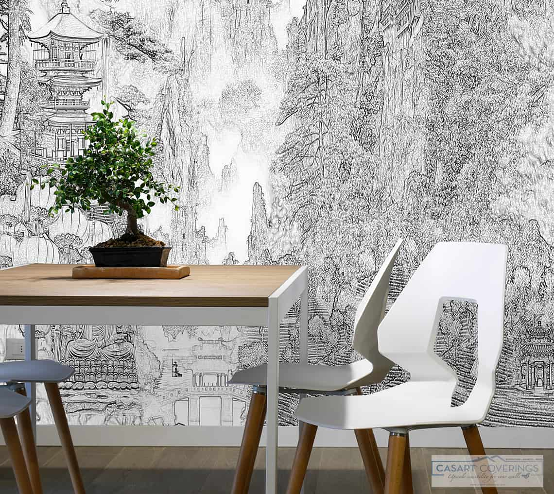 Casart Coverings Aesthetic China Mural temporary wallpaper in Modern Asian Interior Vignette_closeup_casartblog
