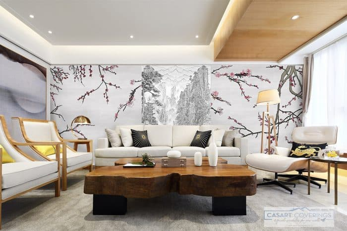 Casart Coverings Aesthetic China Mural installed on top of the Asia Blossom Mural temporary wallpaper_casartblog