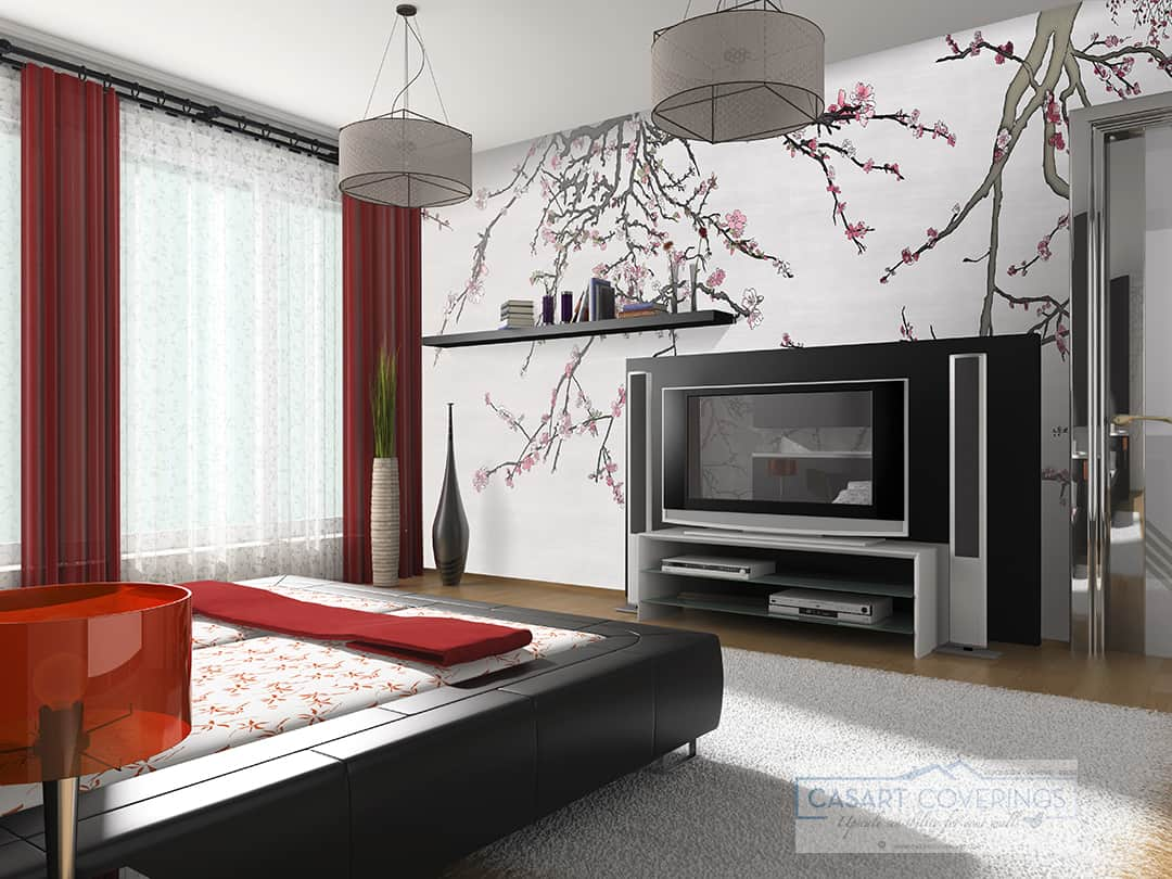 Casart Coverings Asia Blossom Silver temporary wallpaper in Modern Bedroom_casartblog