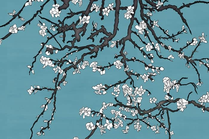 Casart Coverings' Asia Blossom VanGogh/ White removable wallpaper mural closeup section_casartblog