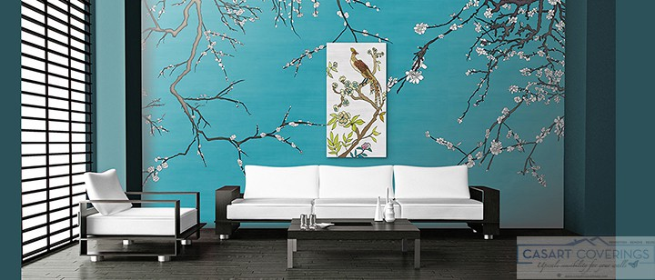 Casart Coverings Asia Blossom temporary wallpaper in VanGogh blue in Living Room with our Chinoiserie Gallery Wrap Canvas artwork_casartblog