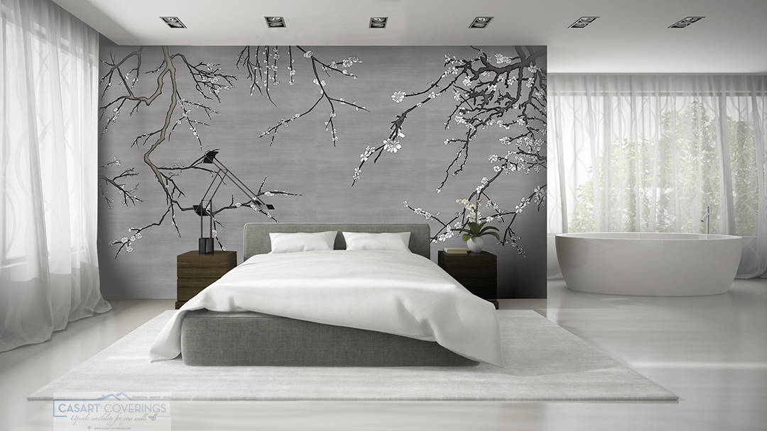 Casart Coverings Pewter / White Asia Blossom temporary wallpaper in a modern living room_casartblog