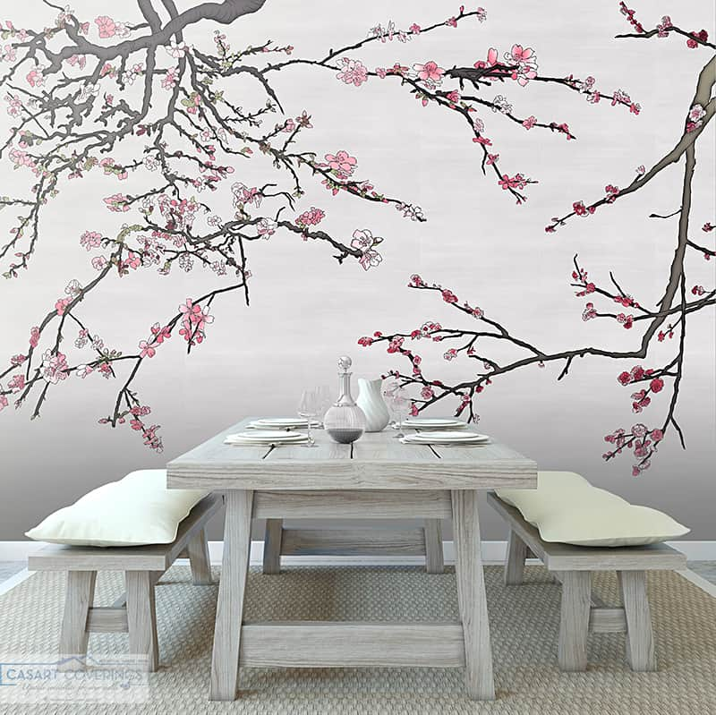Casart Coverings Asia Blossom Silver-pink temporary wallpaper Spring Wallcovering Designs in Rustic Dining Room_casartblog