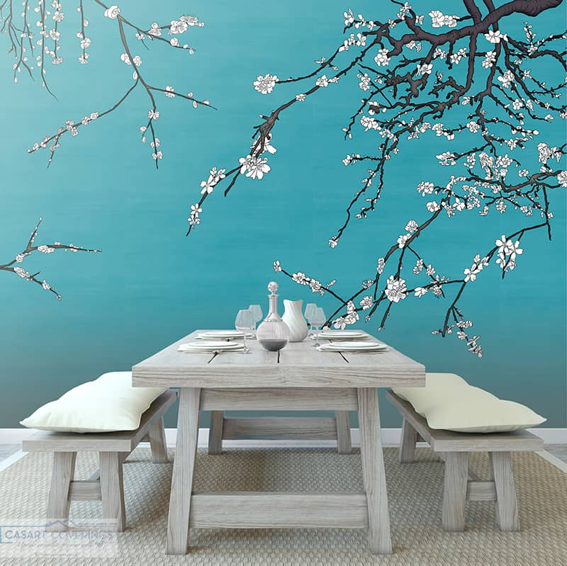 Casart Coverings Asia Blossom VanGogh blue removable wallpaper with Rustic Dining Table_casartblog