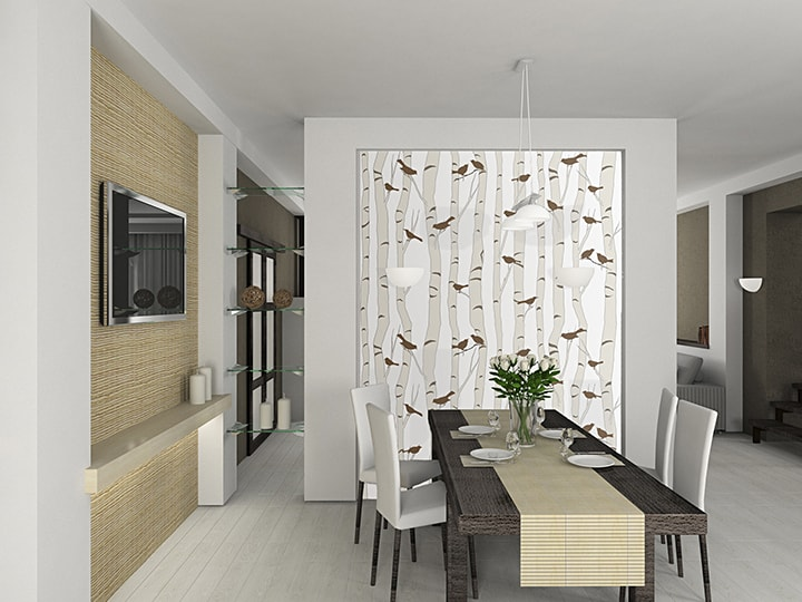 Casart Coverings Neutral Birds-Birch temporary wallpaper in dining room_casartblog 2