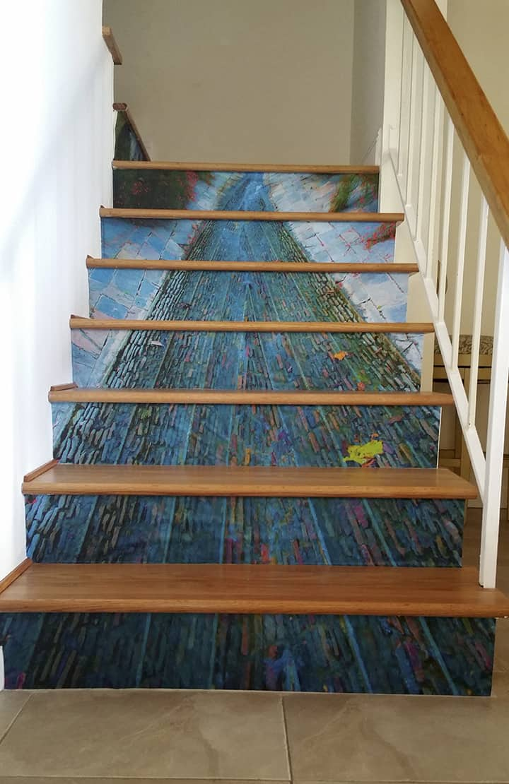Casart Customer's custom stair mural removable wallpaper_casartblog