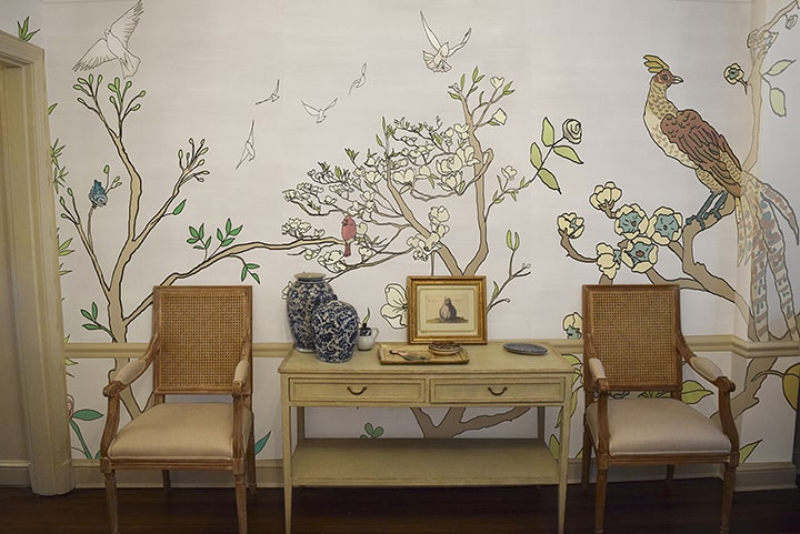 Casart Coverings Chinoiserie1 temporary wallpaper_Rm View with 2 chairs