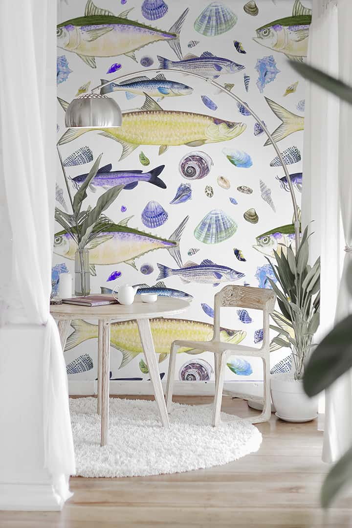 Casart Shell Fish Orange Purple removable wallpaper in White furniture rm_casartblog