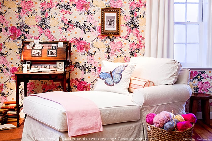 Casart Coverings Flower Power removable wallpaper for the hip grandma_casartblog