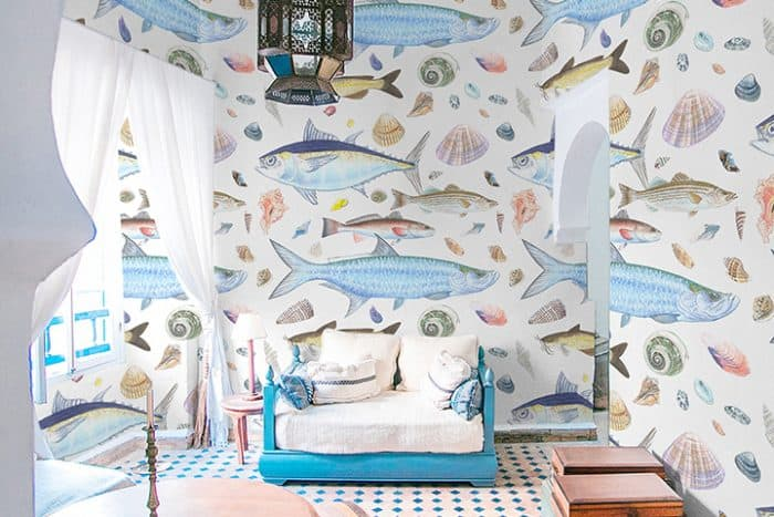 Casart Coverings Shell Fish removable wallpaper in Tropical Room_casartblog