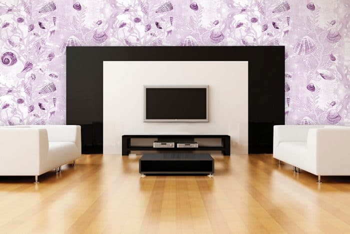 Casart Coverings Mauve Shells temporary wallpaper in modern entertainment room_casartblog