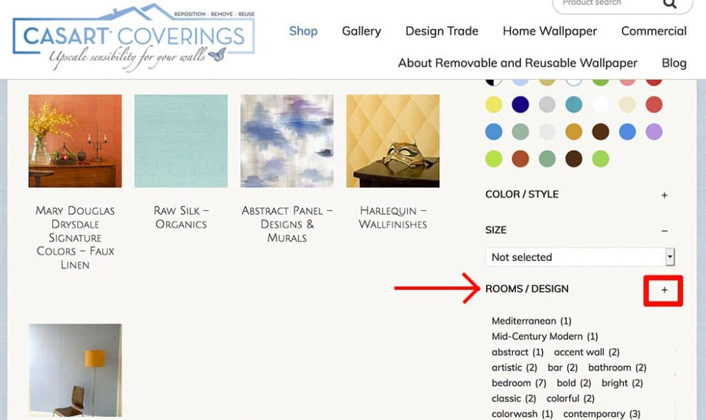 Casart Coverings tag search by design or room on website for removable wallpaper