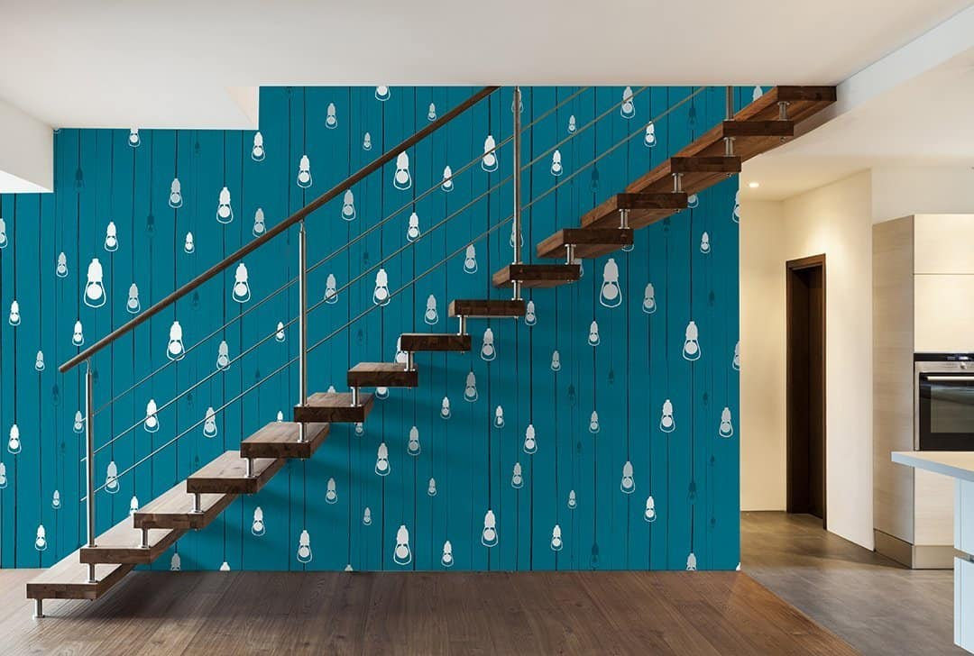Casart Coverings Light Rain removable wallpaper, Starlight Colorway in a modern loft_casartblog