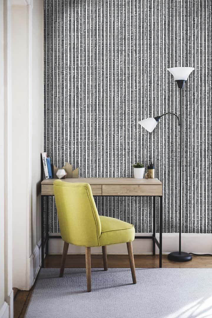 Casart Room Black White Grasscloth removable wallpaper_casartblog