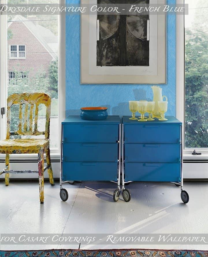 Mary Douglas Drysdale Signature Color French Blue_Colorwash Casart Coverings Removable Wallpaper_casartblog
