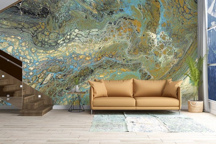 Casart Coverings Wave 2 Mural removable wallpaper in Living Room Foyer with Stairs