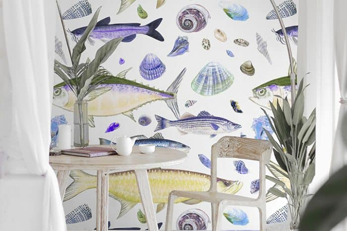Casart Shell Fish Yellow Purple removable wallpaper in White furniture room wm_casartblog
