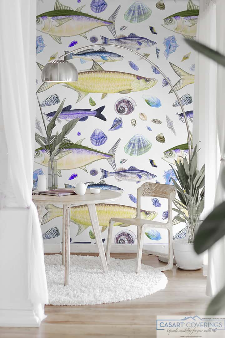 Casart Shell Fish Yellow Purple removable wallpaper in White furniture rm_casartblog