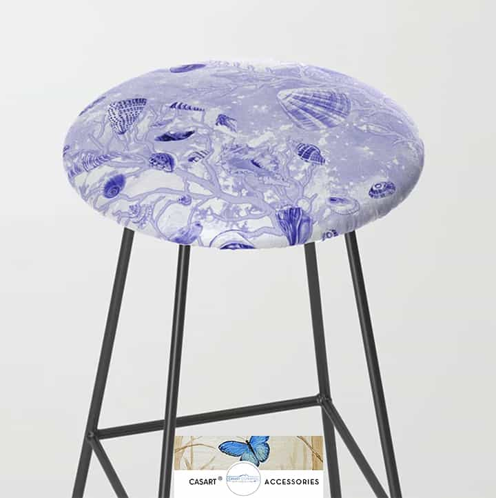 Casart Stool Furniture Accessory in Shells Deep Blue