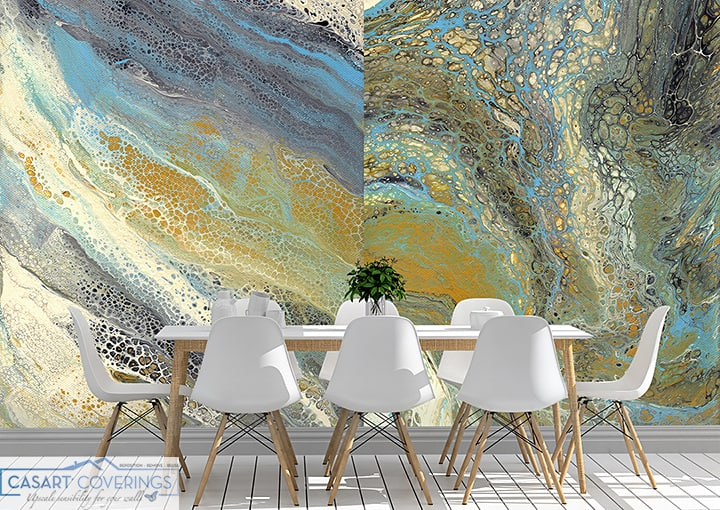 Casart removable wallpaper Wave Murals in dining room_casartblog