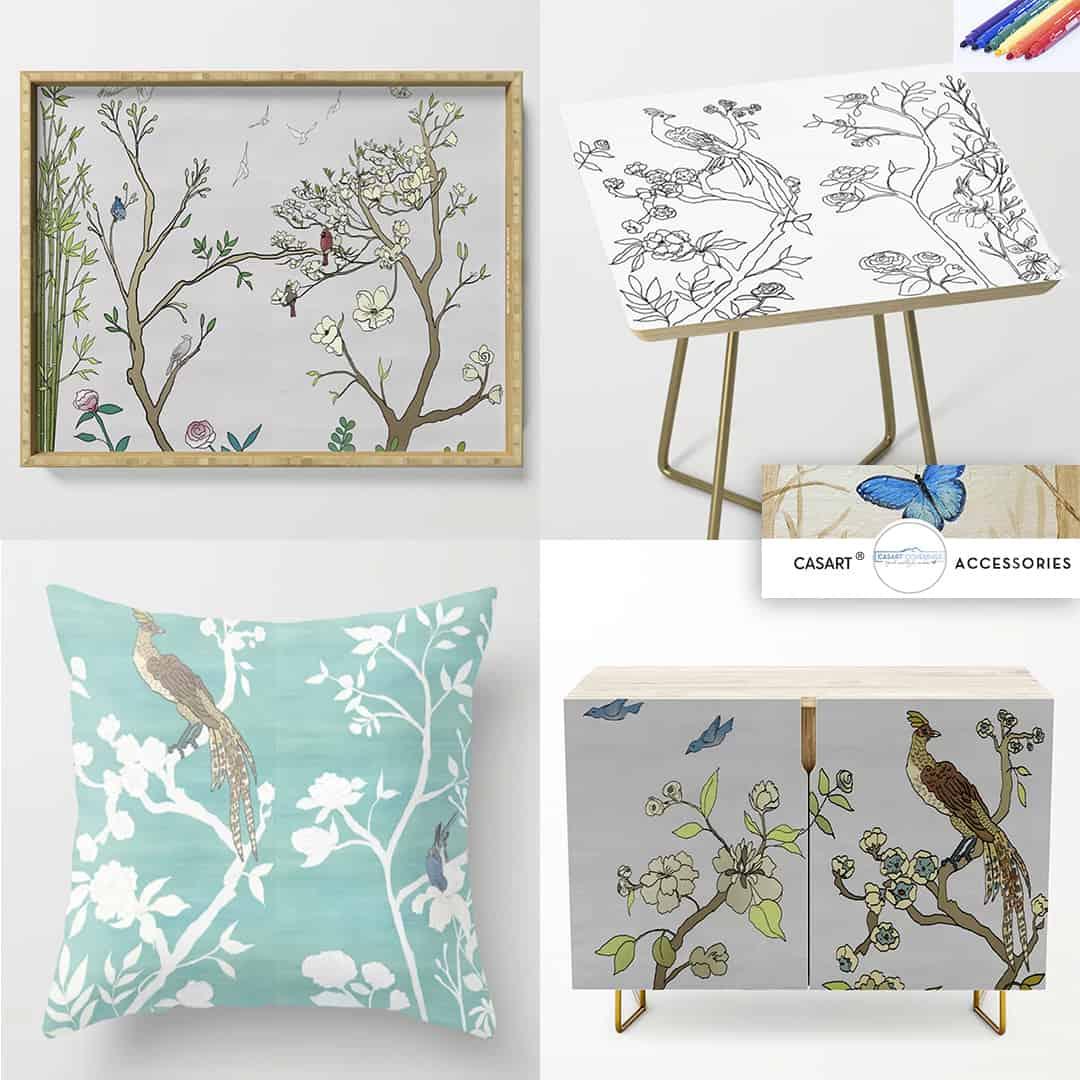 Casart birds on decor accessories