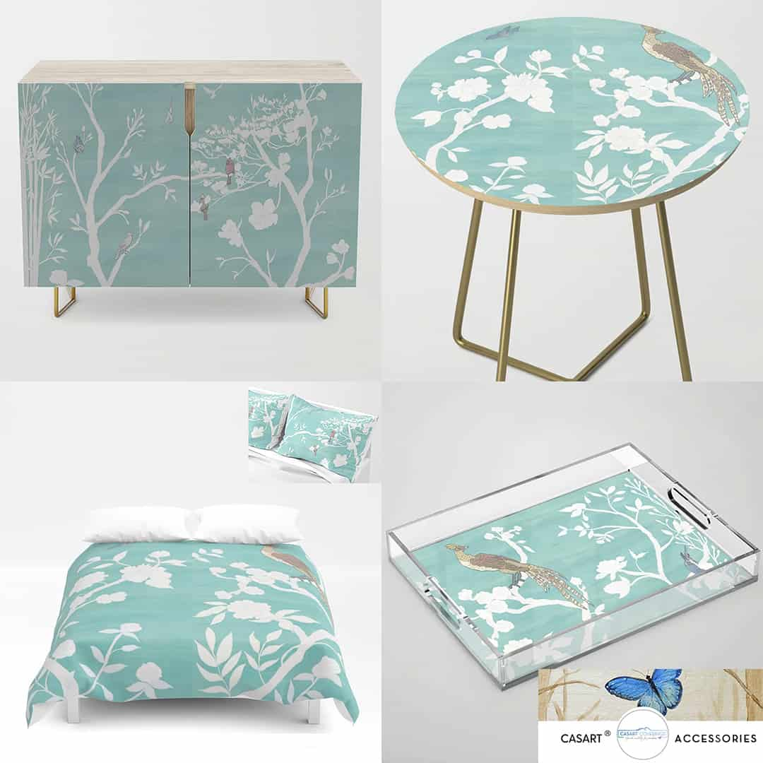 Casart Chinoiserie Accessories Teal White Composite