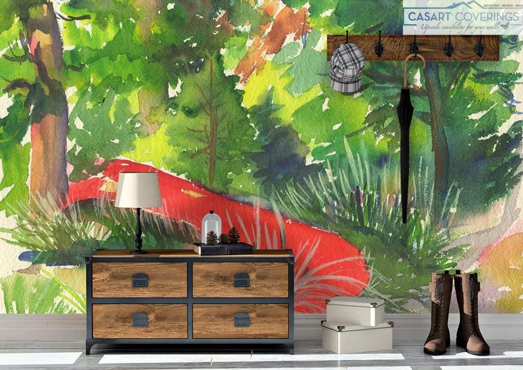 Casart removable wallpaper vintage Red Canoe Katherine Collection