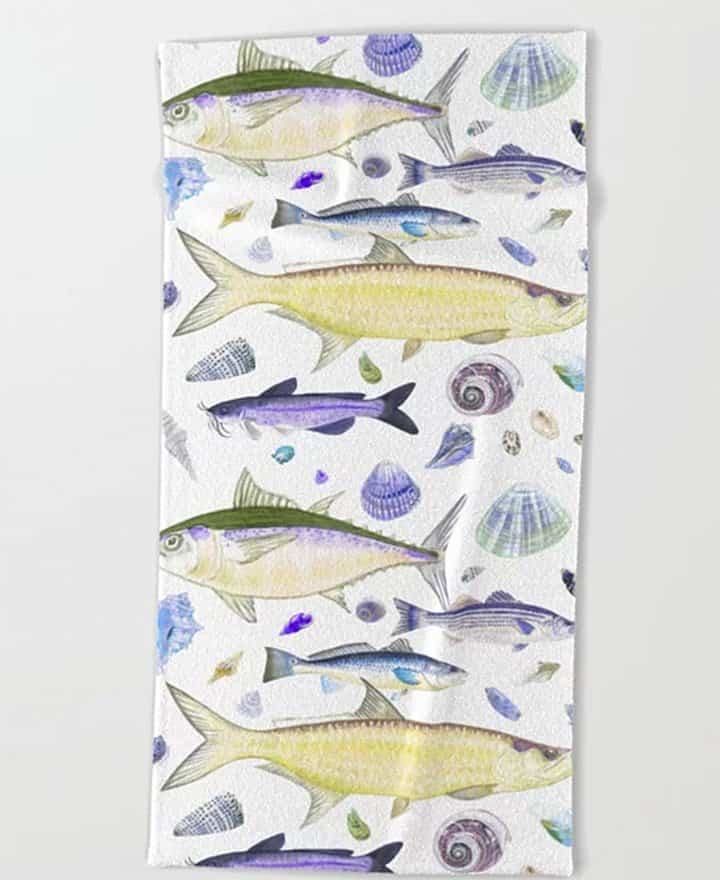 Casart Towel Yellow Purple Shellfish design, casartblog
