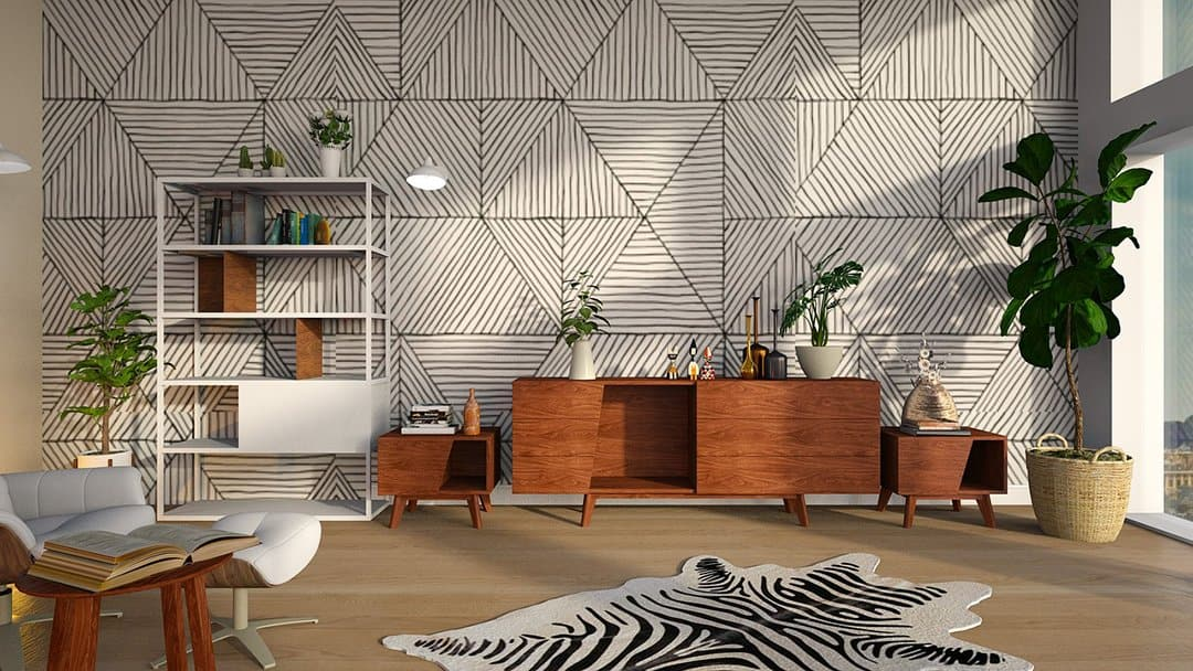 Painted Graphic Walls_shelves in expensive looking living room_casartblog