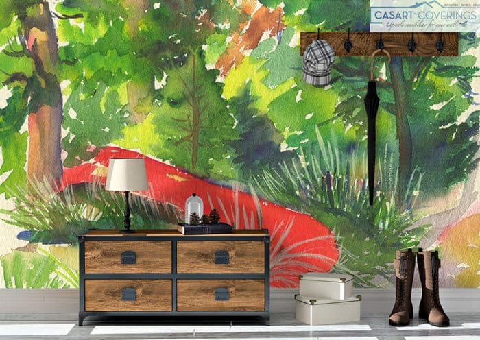 Casart Personalized removable wallpaper_Red Canoe AK in room_casartblog
