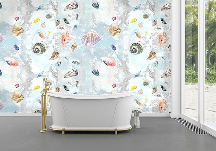 Casart Shells Sea LIfe removable wallpaper bathroom for comfort and joy_casartblog