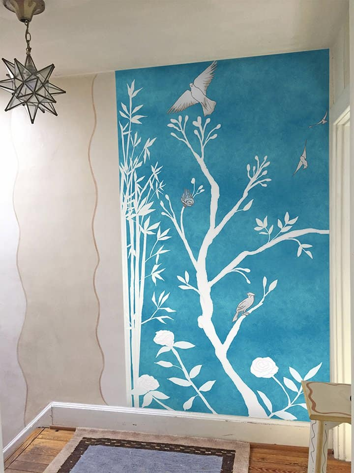 Casart Chinoiserie Panel 1 Desaturated China Blue removable wallpaper mural in stairwell