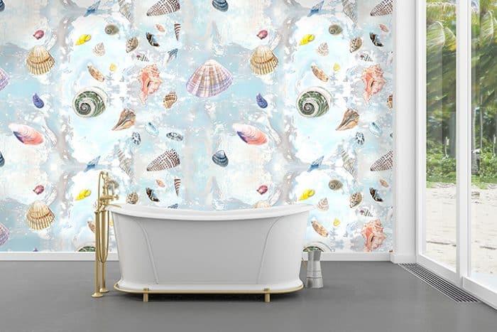 Casart removable wallpaper Shells Sea Spray in bathroom