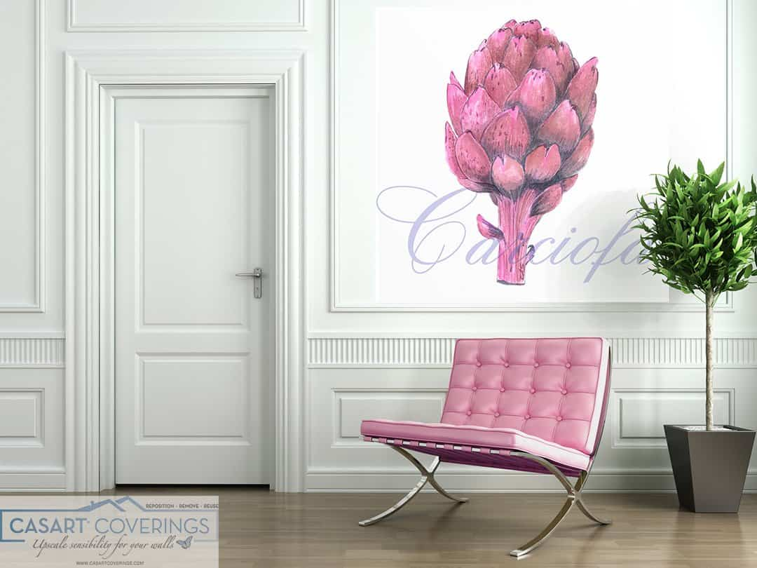 Casart Coverings pink artichoke removable wallpaper in paneled room with chair