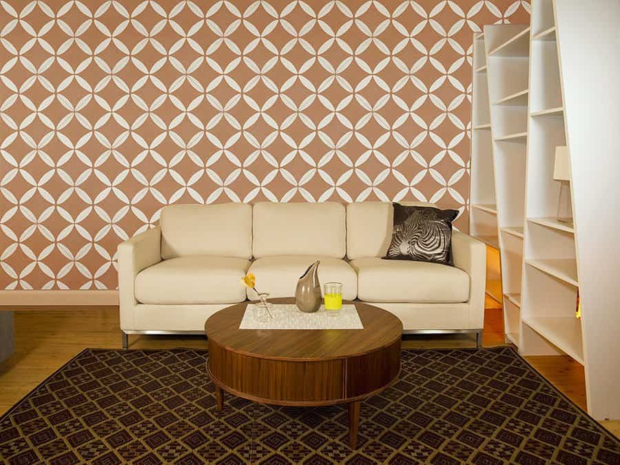 MoRockAnSoul XOXO removable wallpaper for Casart Coverings in living room