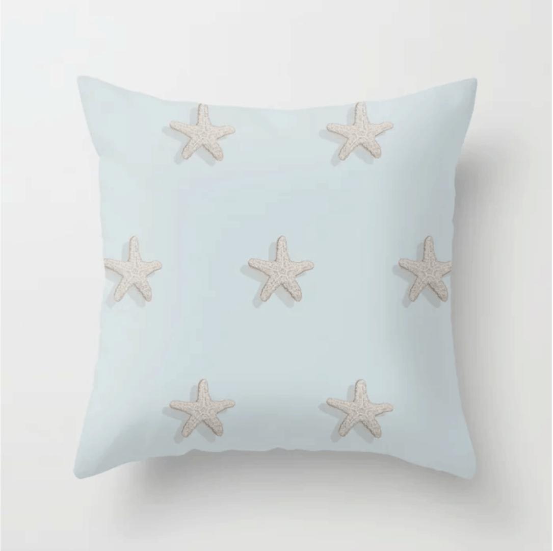 Casart throw pillow starfish design is patriotic and coastal_casartblog