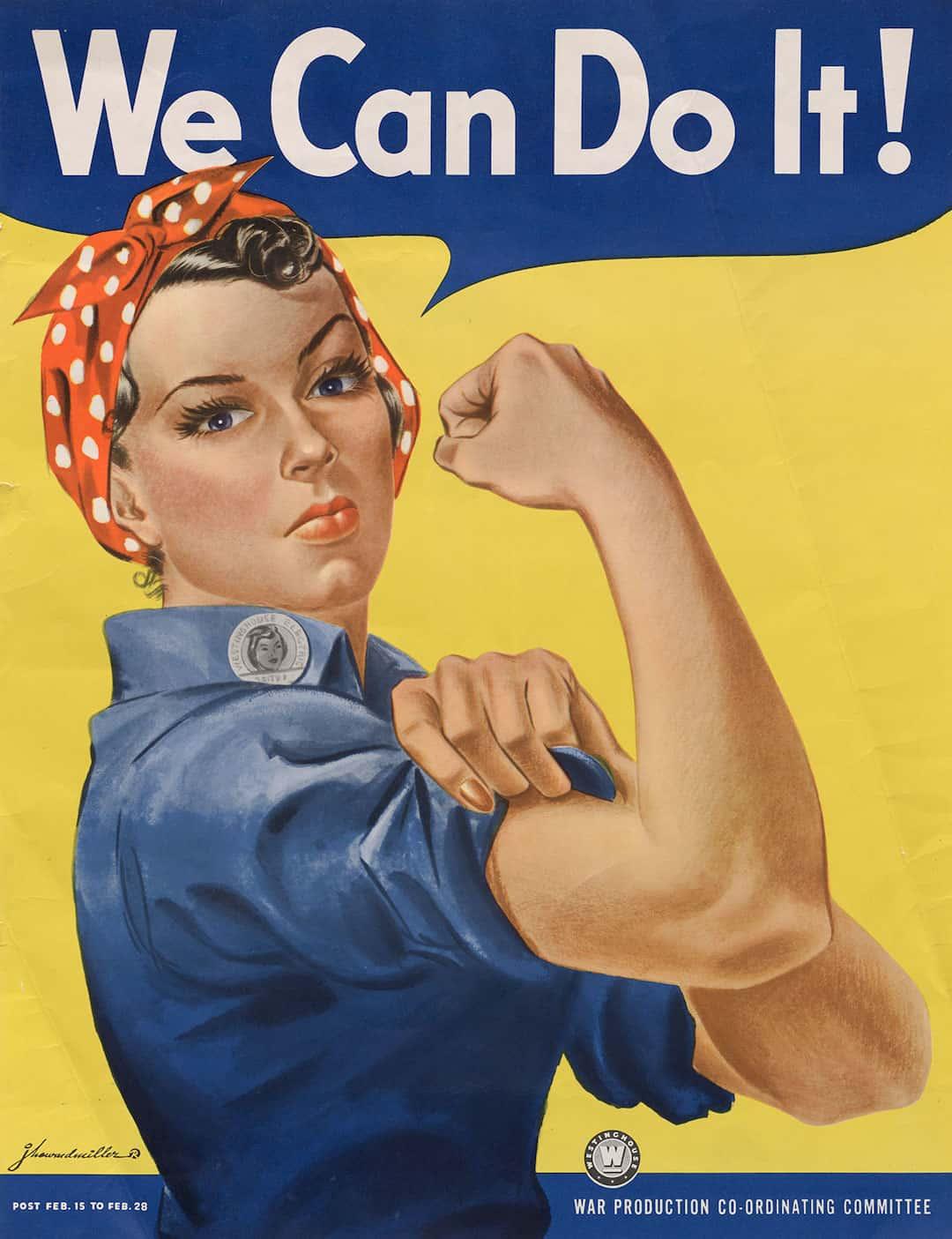 Rosie the Riveter poster by J Howard Miller via National Archives on casartblog