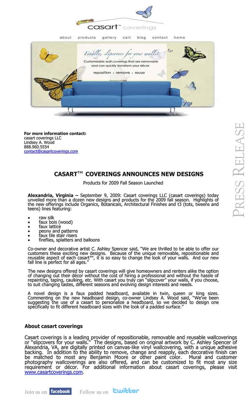 Casart Coverings Announces New Designs September 2009 Press Release