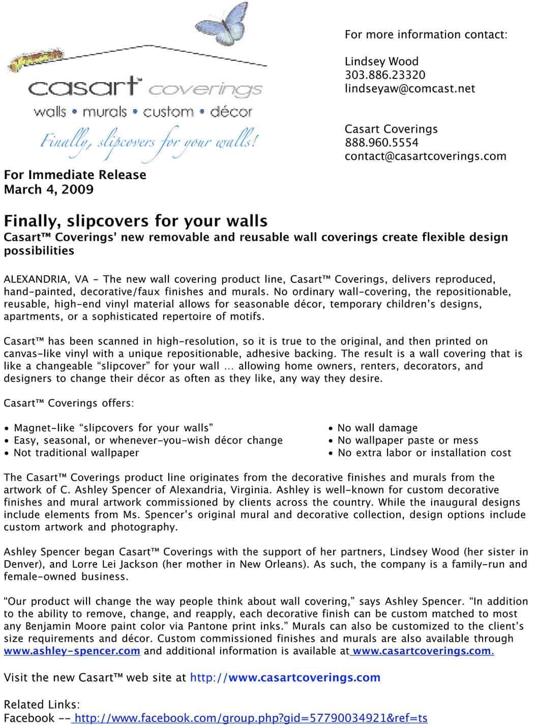 Casart Coverings Initial Press Release March 2009